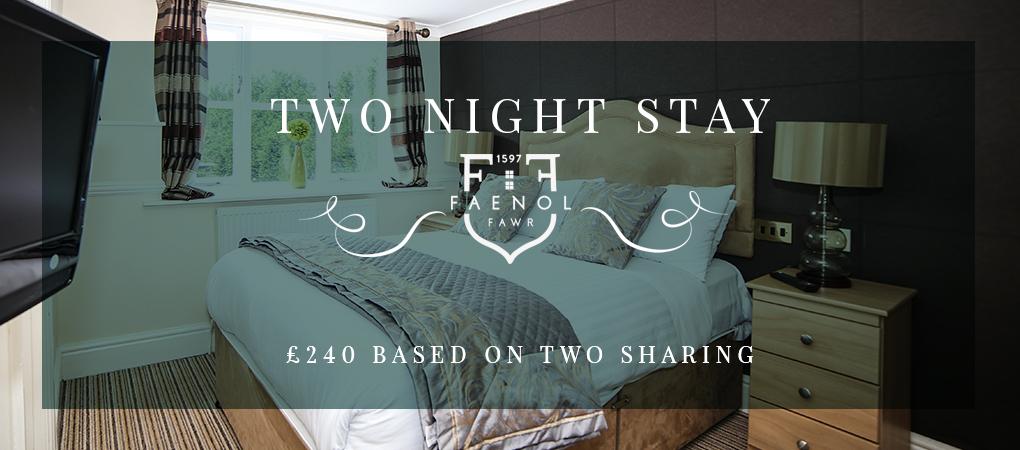 Two night Country House Break in beautiful North Wales for two people including dinner, bed, breakfast, massage, facial and more for only £240 per couple!